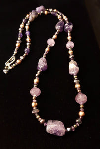 Luxurious Amethyst & Pearls Silver Necklace - Leila Haikonen Jewellery - 10