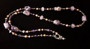 Luxurious Amethyst & Pearls Silver Necklace - Leila Haikonen Jewellery - 4