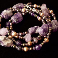 Luxurious Amethyst & Pearls Silver Necklace - Leila Haikonen Jewellery