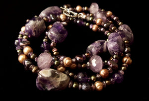 Luxurious Amethyst & Pearls Silver Necklace - Leila Haikonen Jewellery - 8