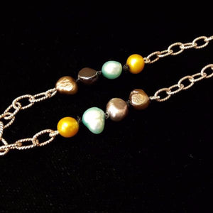 Yellow, Blue, Black, Green Pearls Knotted Silk, Silver Bracelet - Leila Haikonen Jewellery