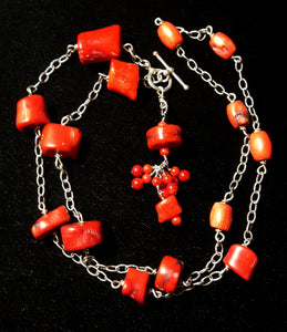 Red Coral Silver Chain Tassel Necklace - Leila Haikonen Jewellery - 1