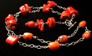 Red Coral Silver Chain Tassel Necklace - Leila Haikonen Jewellery - 5