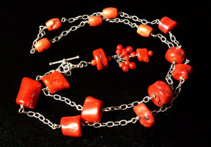 Red Coral Silver Chain Tassel Necklace - Leila Haikonen Jewellery - 4