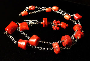 Red Coral Silver Chain Tassel Necklace - Leila Haikonen Jewellery