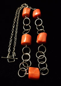 Orange Coral & Silver Chain Necklace - Leila Haikonen Jewellery