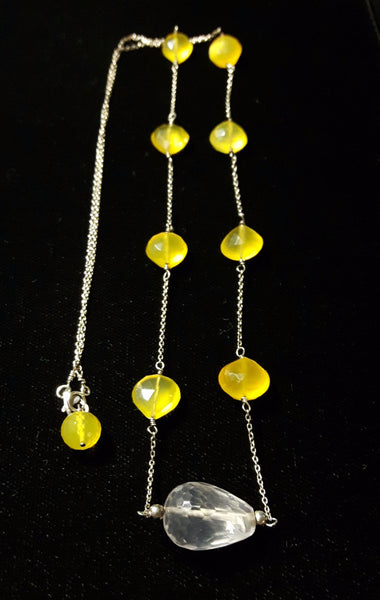 Yellow Chalcedony, Rose Quartz, Silver Necklace - Leila Haikonen Jewellery - 2