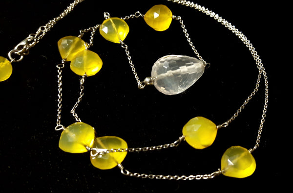 Yellow Chalcedony, Rose Quartz, Silver Necklace - Leila Haikonen Jewellery - 3