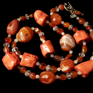 Coral, Carnelian & Rose Quartz Silver Necklace - Leila Haikonen Jewellery