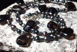 Smoky Quartz, Hematite, Black Pearls, Silver Necklace - Leila Haikonen Jewellery