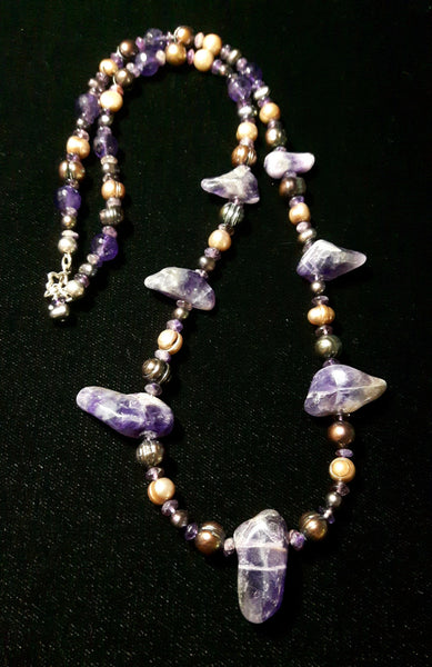 Luxurious Amethyst & Pearl Silver Necklace - Leila Haikonen Jewellery - 6