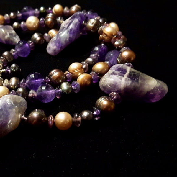 Luxurious Amethyst & Pearl Silver Necklace - Leila Haikonen Jewellery - 1