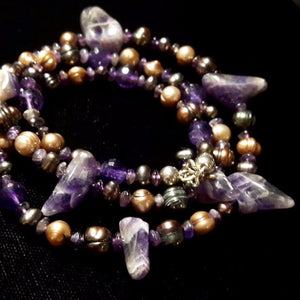 Luxurious Amethyst & Pearl Silver Necklace - Leila Haikonen Jewellery
