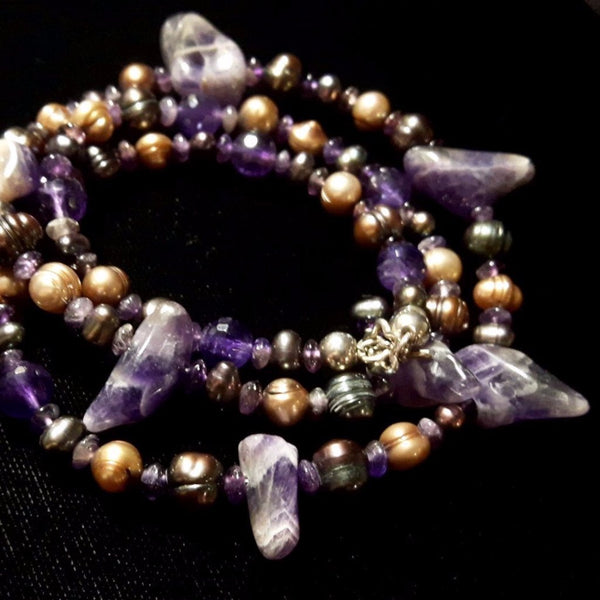 Luxurious Amethyst & Pearl Silver Necklace - Leila Haikonen Jewellery - 8