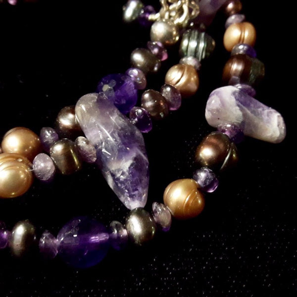 Luxurious Amethyst & Pearl Silver Necklace - Leila Haikonen Jewellery - 2