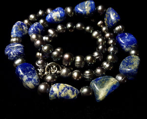 Lapis Lazuli & Black Pearl Silver Necklace - Leila Haikonen Jewellery