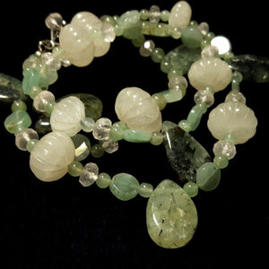 Rose Quartz, Prehnite, Aventurine & Silver Necklace - Leila Haikonen Jewellery