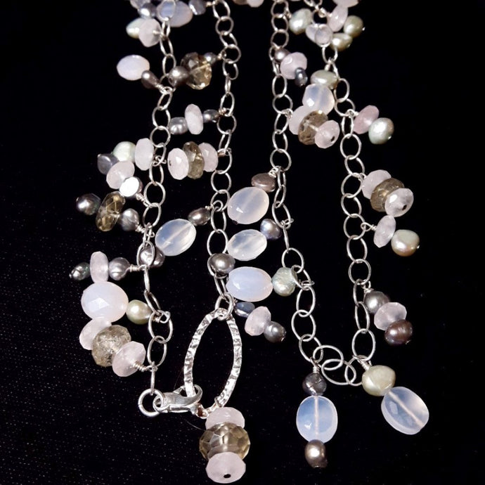 Rose Quartz, Chalcedony, Smoky Quartz, Pearl Silver Necklace - Leila Haikonen Jewellery
