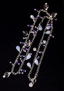 Amethyst, Chalcedony & Quartz Silver Necklace - Leila Haikonen Jewellery