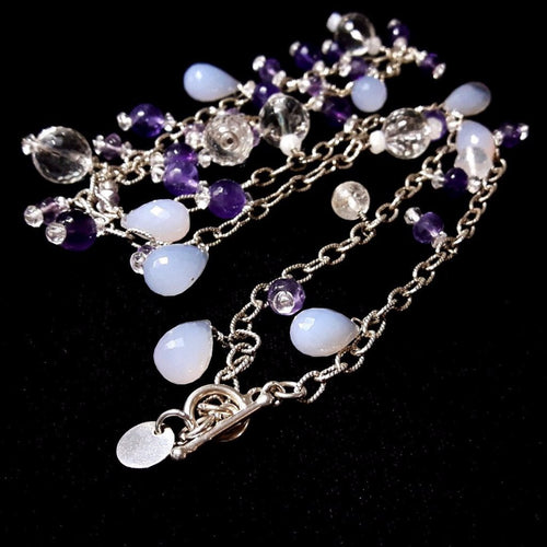 Amethyst, Chalcedony & Quartz Silver Necklace - Leila Haikonen Jewellery - 1