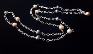 Champagne & Grey Pearl Silver Chain Necklace - Leila Haikonen Jewellery - 2