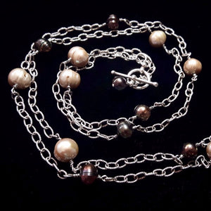 Champagne & Black Pearl Silver Chain Necklace - Leila Haikonen Jewellery - 1