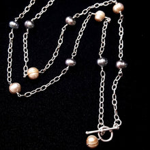 Champagne & Grey Pearl Silver Chain Necklace - Leila Haikonen Jewellery - 1