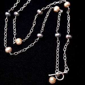 Champagne & Grey Pearl Silver Chain Necklace - Leila Haikonen Jewellery