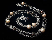 Champagne & Black Pearl Silver Chain Necklace - Leila Haikonen Jewellery