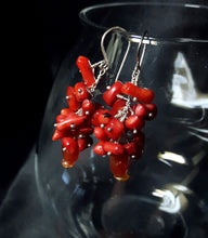 Red Coral Cluster & Carnelian Silver Earrings - Leila Haikonen Jewellery