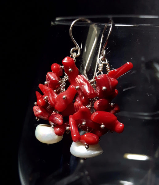 Red Coral Cluster & White Pearl Silver Earrings - Leila Haikonen Jewellery - 2