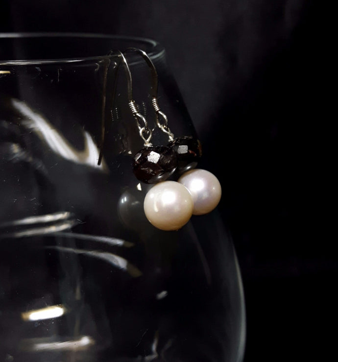 White Pearls & Tourmaline Silver Earrings - Leila Haikonen Jewellery
