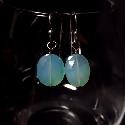 Blue Chalcedony Silver Earrings - Leila Haikonen Jewellery - 1