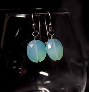 Blue Chalcedony Silver Earrings - Leila Haikonen Jewellery - 3