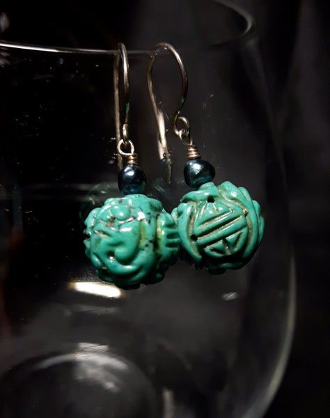 Turquoise & Pearl Silver Earrings - Leila Haikonen Jewellery - 2