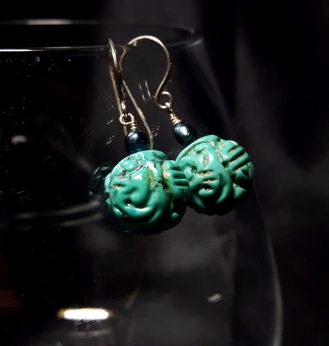 Turquoise & Pearl Silver Earrings - Leila Haikonen Jewellery