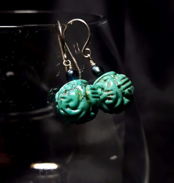 Turquoise & Pearl Silver Earrings - Leila Haikonen Jewellery - 1