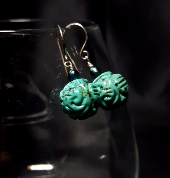 Turquoise & Pearl Silver Earrings - Leila Haikonen Jewellery - 3