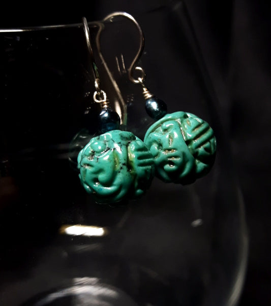 Turquoise & Pearl Silver Earrings - Leila Haikonen Jewellery - 4