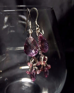 Pink Mystic Topaz & Pink Tourmaline Silver Earrings - Leila Haikonen Jewellery