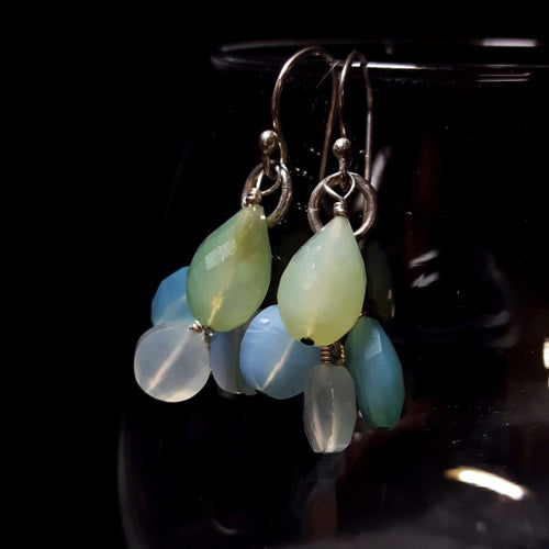 Chalcedony Cluster Silver Earrings - Leila Haikonen Jewellery