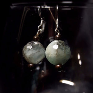 Aquamarine & Black Pearl Silver Earrings - Leila Haikonen Jewellery