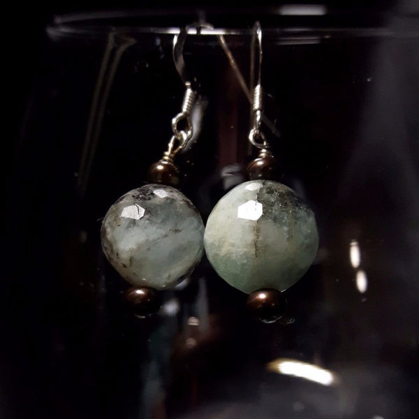 Aquamarine & Black Pearl Silver Earrings - Leila Haikonen Jewellery - 1