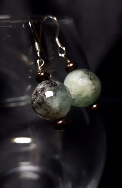 Aquamarine & Black Pearl Silver Earrings - Leila Haikonen Jewellery - 2