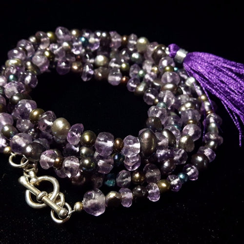 Amethyst & Black Pearl Silver Necklace - Leila Haikonen Jewellery