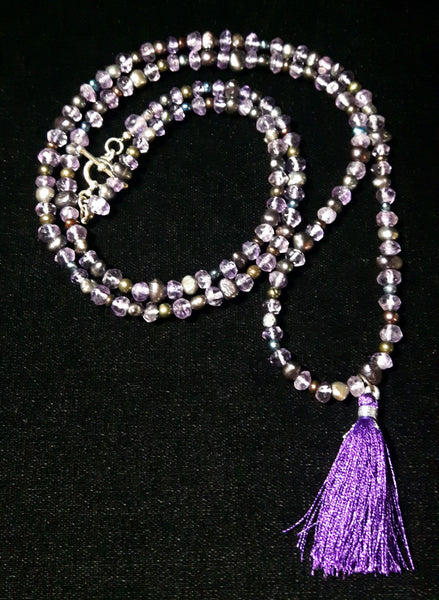 Amethyst & Black Pearl Silver Necklace - Leila Haikonen Jewellery - 2