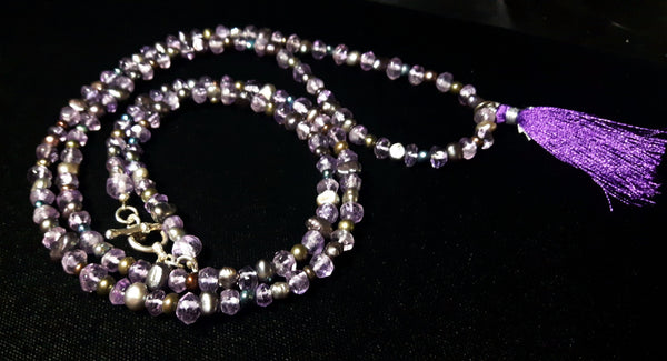 Amethyst & Black Pearl Silver Necklace - Leila Haikonen Jewellery - 3