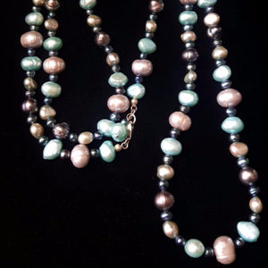 Aqua, Silver & Black Pearls, Silver Necklace - Leila Haikonen Jewellery