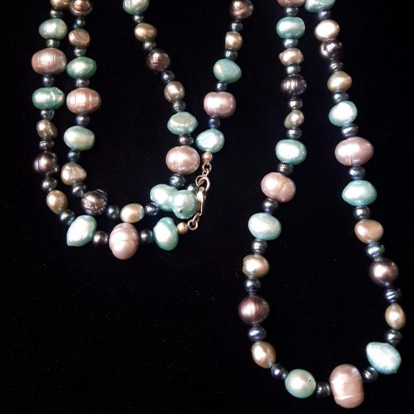 Aqua, Silver & Black Pearls, Silver Necklace