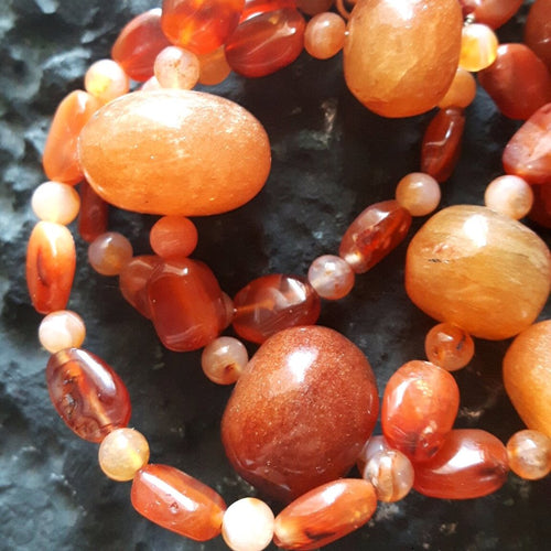 Sunstone, Carnelian and Silver Necklace - Leila Haikonen Jewellery